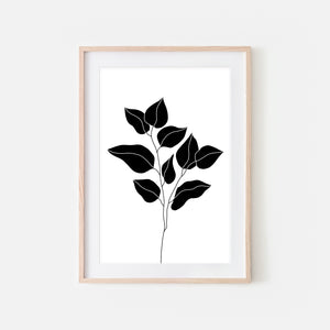 Botanical No. 9 Wall Art - Minimalist Branch Leaves Illustration - Black and White Print, Poster or Printable Download