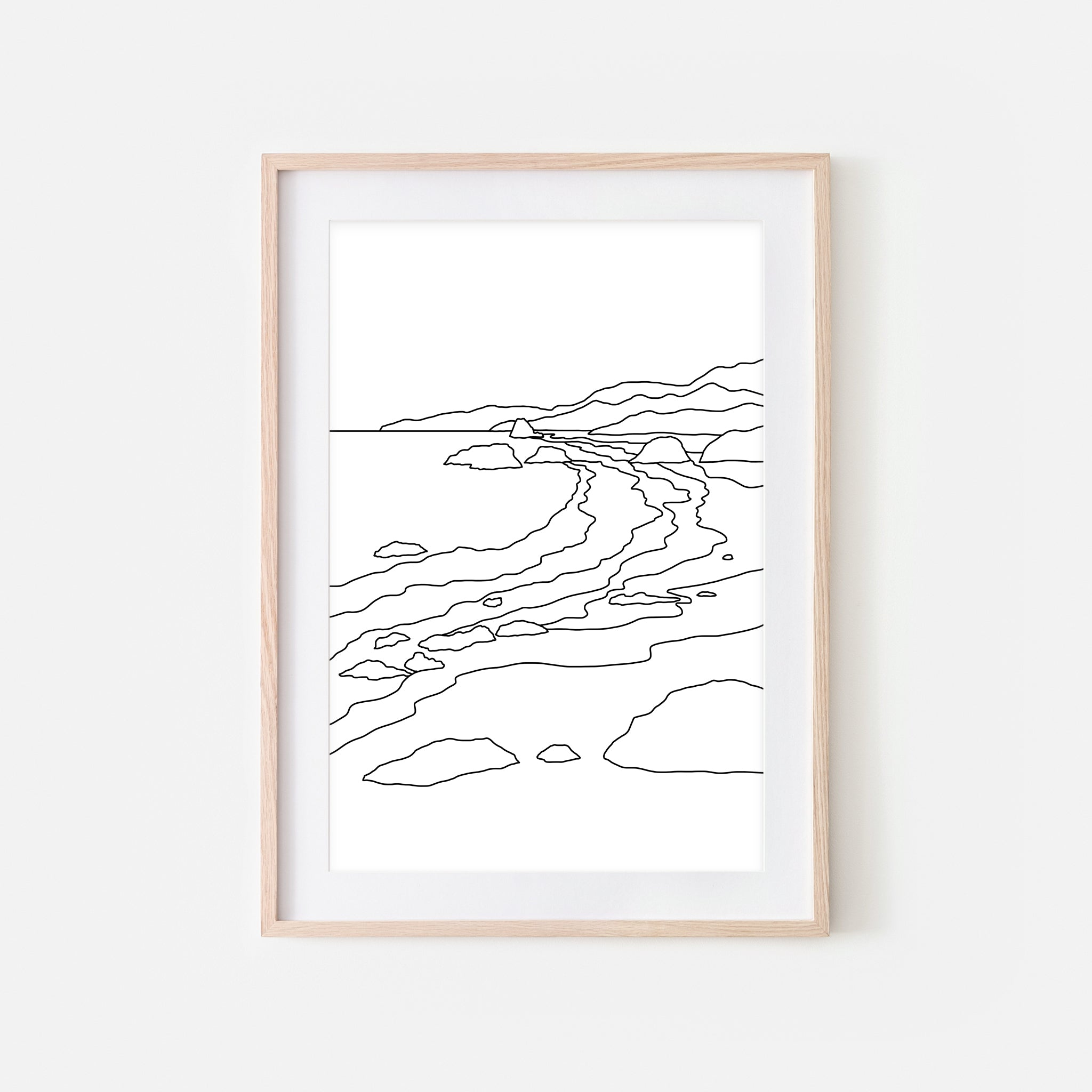 Beach No. 9 Wall Art - Minimalist Abstract Coastal Landscape Line Drawing - Black and White Print, Poster or Printable Download