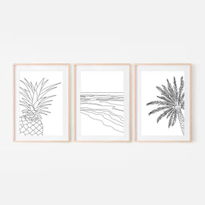 Set of 3 Beach Wall Art - Pineapple Ocean Waves Palm Tree - Black and White Line Art Drawing - Print, Poster or Printable Download - Home Decor