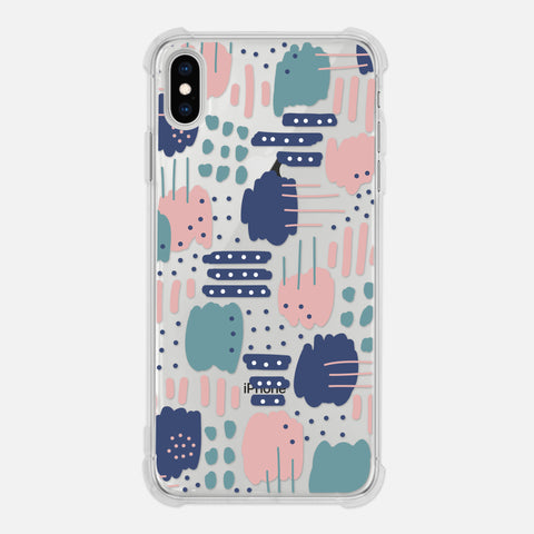 Abstract Art Pattern Graphic Painting Brush Strokes Dots Stripes Modern Trendy Blush Pink Navy Blue Teal Clear iPhone Case for XR XS Max X 8 7 6 6s Plus - By Happy Cat Prints