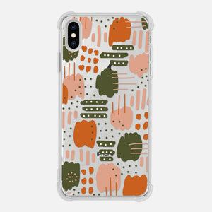 Abstract Art Pattern Graphic Painting Brush Strokes Dots Stripes Modern Trendy Burnt Orange Olive Green Tan Beige Clear iPhone Case for iPhone 11 Pro Max XR XS X 8 7 6 6s Plus - By Happy Cat Prints