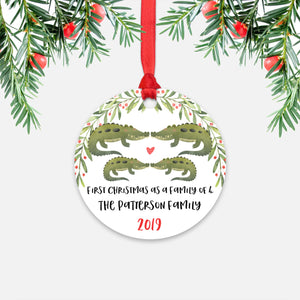 Alligator Crocodile Animal First Christmas as a Family of 4 Personalized Ornament for New Baby Girl Boy - Round Aluminum - Red ribbon