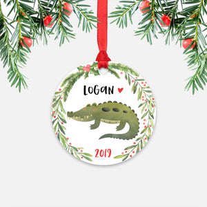 Alligator Crocodile Jungle Animal Personalized Kids Name Christmas Ornament for Boy or Girl - Round Aluminum - Red ribbon