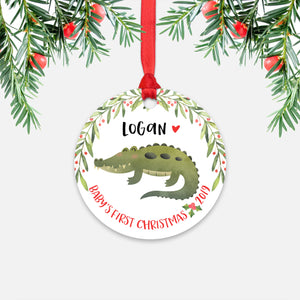 Alligator Crocodile Personalized Baby's First Christmas Ornament for Baby Boy or Baby Girl - Cute Animal Baby 1st Holidays Decoration - Custom Christmas Gift Idea for New Parents - Round Aluminum - by Happy Cat Prints