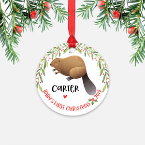 Beaver Personalized Baby's First Christmas Ornament for Baby Boy or Baby Girl - Cute Woodland Animal Baby 1st Holidays Decoration - Custom Christmas Gift Idea for New Parents - Round Aluminum - by Happy Cat Prints