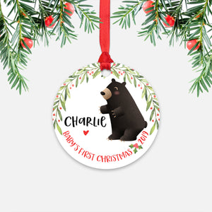 Black Bear Personalized Baby's First Christmas Ornament for Baby Boy or Baby Girl - Cute Woodland Animal Baby 1st Holidays Decoration - Custom Christmas Gift Idea for New Parents - Round Aluminum - by Happy Cat Prints