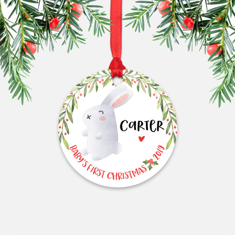 Bunny Rabbit Personalized Baby's First Christmas Ornament for Baby Boy or Baby Girl - Cute Woodland Animal Baby 1st Holidays Decoration - Custom Christmas Gift Idea for New Parents - Round Aluminum - by Happy Cat Prints