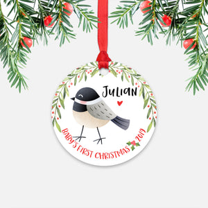 Chickadee Bird Personalized Baby's First Christmas Ornament for Baby Boy or Baby Girl - Cute Woodland Animal Baby 1st Holidays Decoration - Custom Christmas Gift Idea for New Parents - Round Aluminum - by Happy Cat Prints