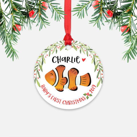 Clownfish Clown Fish Personalized Baby's First Christmas Ornament for Baby Boy or Baby Girl - Cute Ocean Sea Animal Baby 1st Holidays Decoration - Custom Christmas Gift Idea for New Parents - Round Aluminum - by Happy Cat Prints