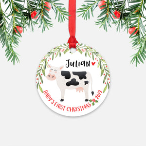 Cow Personalized Baby's First Christmas Ornament for Baby Boy or Baby Girl - Cute Farm Animal Baby 1st Holidays Decoration - Custom Christmas Gift Idea for New Parents - Round Aluminum - by Happy Cat Prints