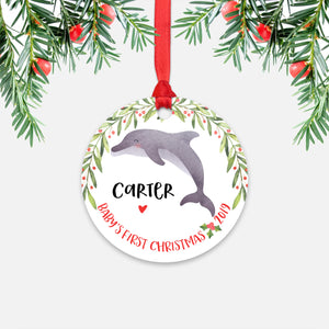 Dolphin Personalized Baby's First Christmas Ornament for Baby Boy or Baby Girl - Cute Ocean Sea Animal Baby 1st Holidays Decoration - Custom Christmas Gift Idea for New Parents - Round Aluminum - by Happy Cat Prints