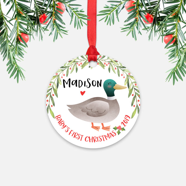 Mallard Duck Personalized Baby's First Christmas Ornament for Baby Boy or Baby Girl - Cute Farm Animal Baby 1st Holidays Decoration - Custom Christmas Gift Idea for New Parents - Round Aluminum - by Happy Cat Prints