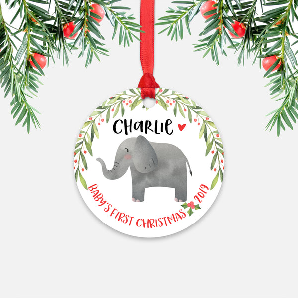 Elephant Personalized Baby's First Christmas Ornament for Baby Boy or Baby Girl - Cute Jungle Safari Animal Baby 1st Holidays Decoration - Custom Christmas Gift Idea for New Parents - Round Aluminum - by Happy Cat Prints
