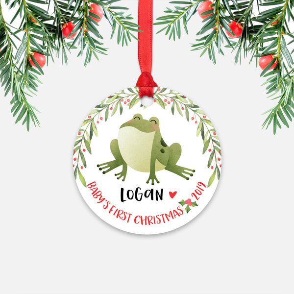 Frog Personalized Baby's First Christmas Ornament for Baby Boy or Baby Girl - Cute Animal Baby 1st Holidays Decoration - Custom Christmas Gift Idea for New Parents - Round Aluminum - by Happy Cat Prints
