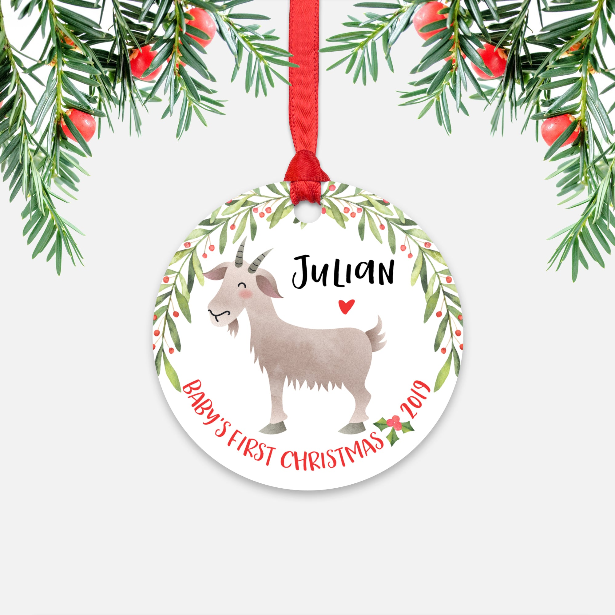 Goat Personalized Baby's First Christmas Ornament for Baby Boy or Baby Girl - Cute Farm Animal Baby 1st Holidays Decoration - Custom Christmas Gift Idea for New Parents - Round Aluminum - by Happy Cat Prints