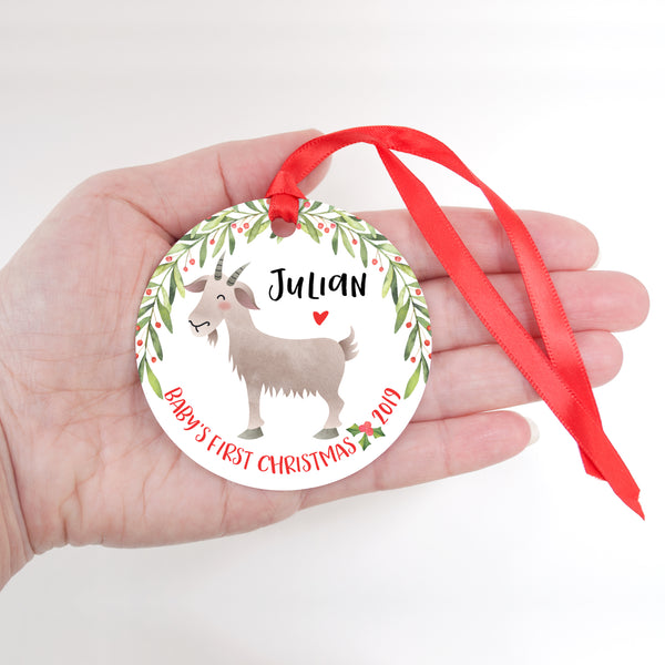 Goat Personalized Baby's First Christmas Ornament for Baby Girl or Baby Boy - Baby's 1st Holidays Milestone Decoration Keepsake - Round Aluminum - by Happy Cat Prints
