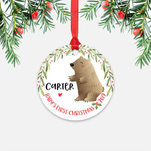 Grizzly Bear Personalized Baby's First Christmas Ornament for Baby Boy or Baby Girl - Cute Woodland Animal Baby 1st Holidays Decoration - Custom Christmas Gift Idea for New Parents - Round Aluminum - by Happy Cat Prints