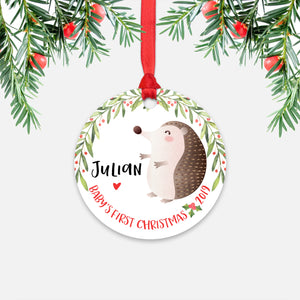 Hedgehog Personalized Baby's First Christmas Ornament for Baby Boy or Baby Girl - Cute Woodland Animal Baby 1st Holidays Decoration - Custom Christmas Gift Idea for New Parents - Round Aluminum - by Happy Cat Prints