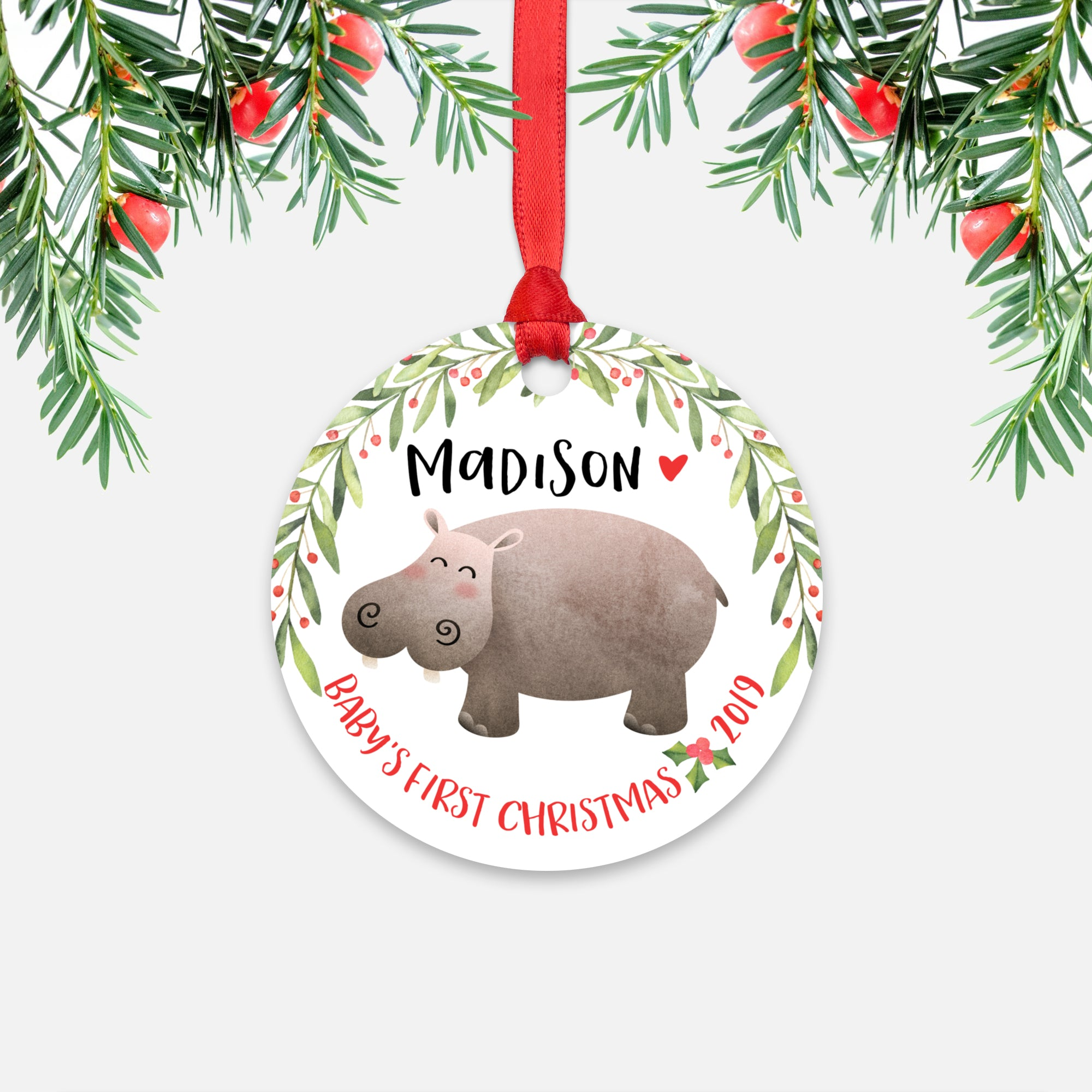 Hippo Hippopotamus Personalized Baby's First Christmas Ornament for Baby Boy or Baby Girl - Cute Safari Jungle Animal Baby 1st Holidays Decoration - Custom Christmas Gift Idea for New Parents - Round Aluminum - by Happy Cat Prints