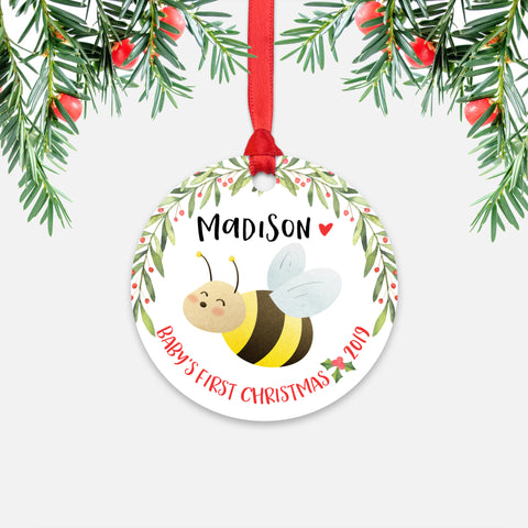 Honey Bee Bumblebee Personalized Baby's First Christmas Ornament for Baby Boy or Baby Girl - Cute Animal Baby 1st Holidays Decoration - Custom Christmas Gift Idea for New Parents - Round Aluminum - by Happy Cat Prints