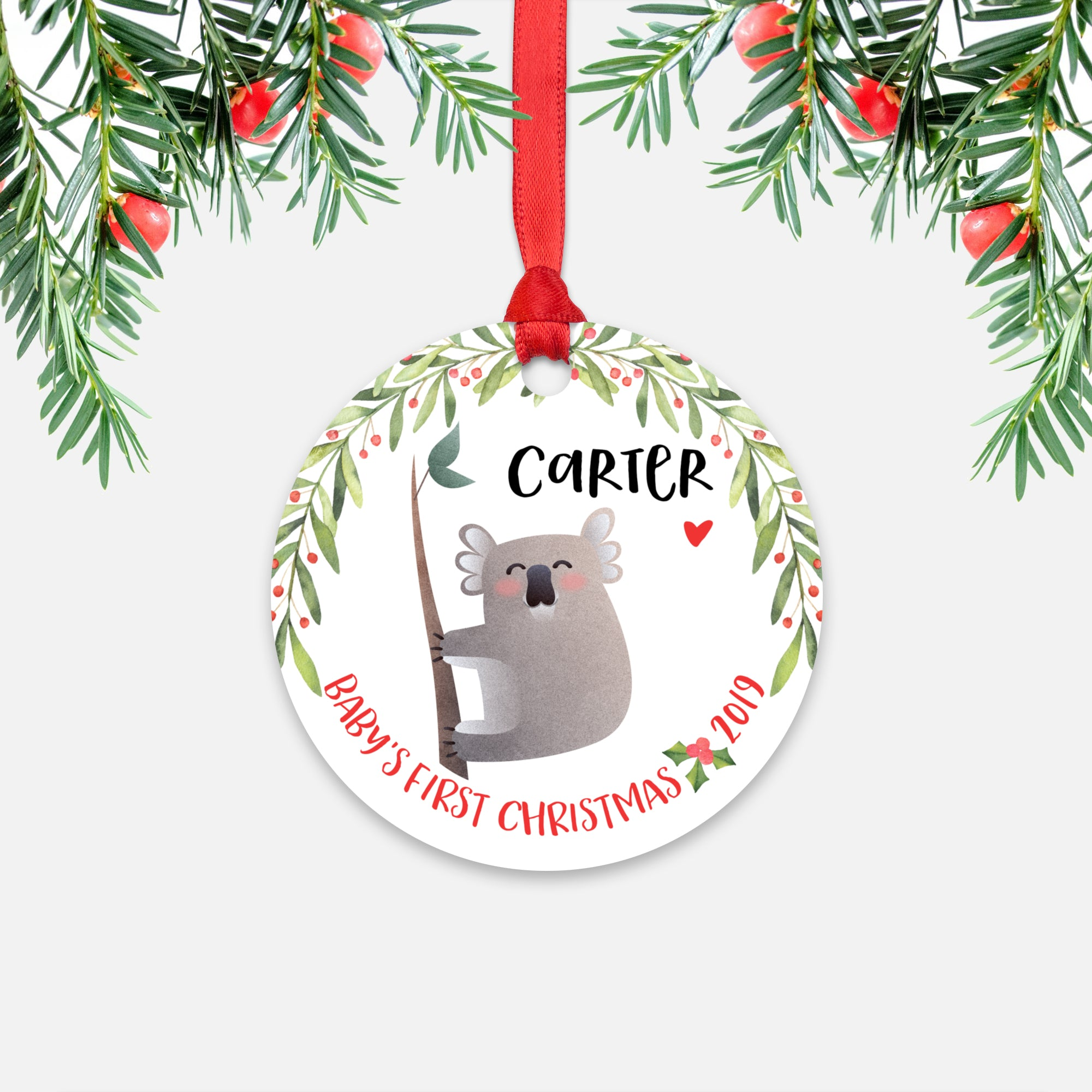 Koala Bear Personalized Baby's First Christmas Ornament for Baby Boy or Baby Girl - Cute Australian Animal Baby 1st Holidays Decoration - Custom Christmas Gift Idea for New Parents - Round Aluminum - by Happy Cat Prints