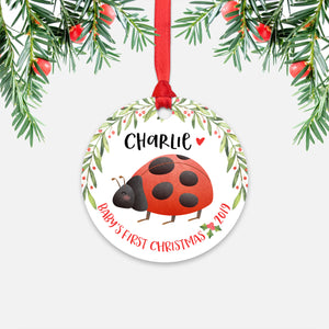 Ladybug Personalized Baby's First Christmas Ornament for Baby Boy or Baby Girl - Cute Animal Baby 1st Holidays Decoration - Custom Christmas Gift Idea for New Parents - Round Aluminum - by Happy Cat Prints