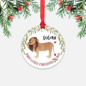 Lion Personalized Baby's First Christmas Ornament for Baby Boy or Baby Girl - Cute Jungle Safari Animal Baby 1st Holidays Decoration - Custom Christmas Gift Idea for New Parents - Round Aluminum - by Happy Cat Prints