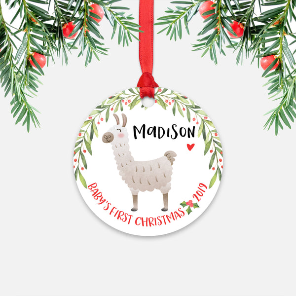 Llama Alpaca Personalized Baby's First Christmas Ornament for Baby Boy or Baby Girl - Cute Animal Baby 1st Holidays Decoration - Custom Christmas Gift Idea for New Parents - Round Aluminum - by Happy Cat Prints