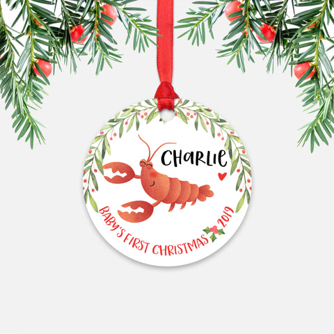 Lobster Personalized Baby's First Christmas Ornament for Baby Boy or Baby Girl - Cute Ocean Sea Animal Baby 1st Holidays Decoration - Custom Christmas Gift Idea for New Parents - Round Aluminum - by Happy Cat Prints