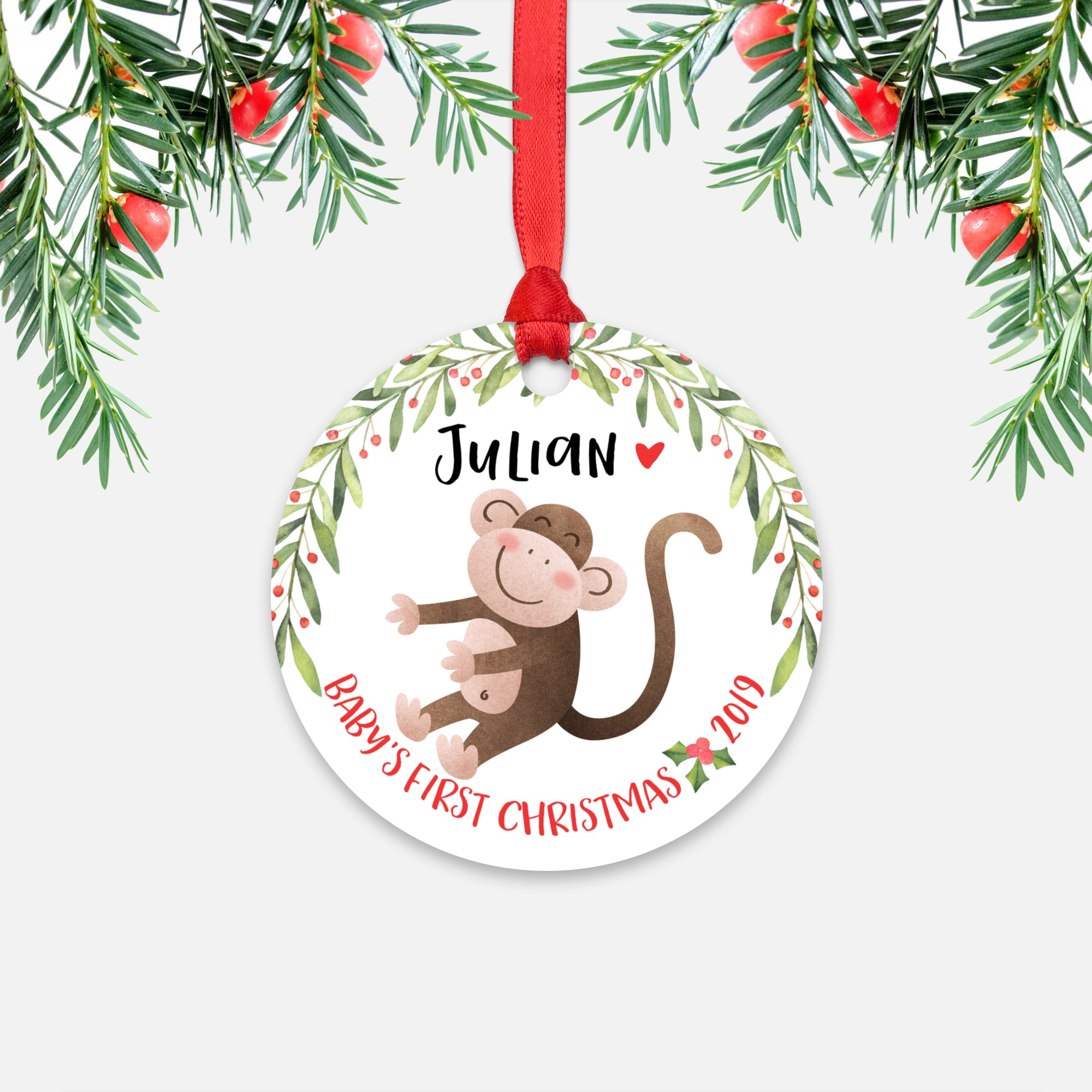 Monkey Personalized Baby's First Christmas Ornament for Baby Boy or Baby Girl - Cute Jungle Animal Baby 1st Holidays Decoration - Custom Christmas Gift Idea for New Parents - Round Aluminum - by Happy Cat Prints