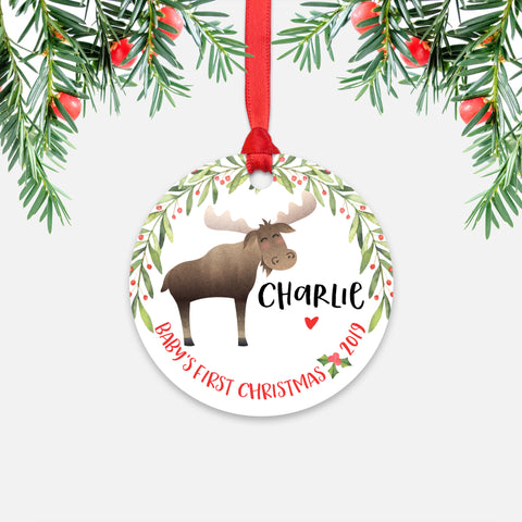 Moose Personalized Baby's First Christmas Ornament for Baby Boy or Baby Girl - Cute Woodland Animal Baby 1st Holidays Decoration - Custom Christmas Gift Idea for New Parents - Round Aluminum - by Happy Cat Prints