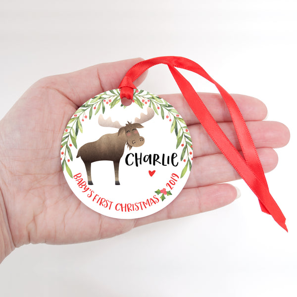 Moose Personalized Baby's First Christmas Ornament for Baby Girl or Baby Boy - Baby's 1st Holidays Milestone Decoration Keepsake - Round Aluminum - by Happy Cat Prints