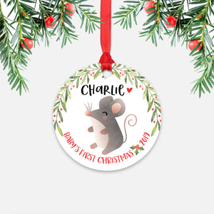 Mouse Personalized Baby's First Christmas Ornament for Baby Boy or Baby Girl - Cute Animal Baby 1st Holidays Decoration - Custom Christmas Gift Idea for New Parents - Round Aluminum - by Happy Cat Prints