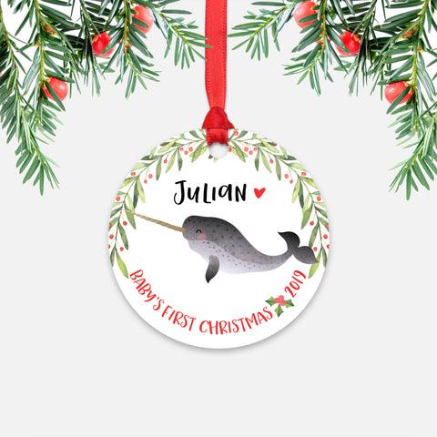 Narwhal Personalized Baby's First Christmas Ornament for Baby Boy or Baby Girl - Cute Ocean Sea Animal Baby 1st Holidays Decoration - Custom Christmas Gift Idea for New Parents - Round Aluminum - by Happy Cat Prints