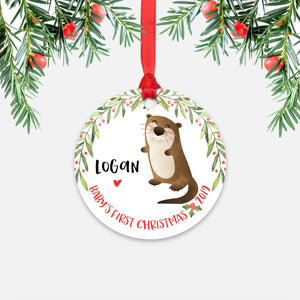 Otter Personalized Baby's First Christmas Ornament for Baby Boy or Baby Girl - Cute Ocean Sea Animal Baby 1st Holidays Decoration - Custom Christmas Gift Idea for New Parents - Round Aluminum - by Happy Cat Prints