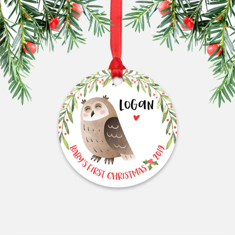 Owl Personalized Baby's First Christmas Ornament for Baby Boy or Baby Girl - Cute Woodland Animal Baby 1st Holidays Decoration - Custom Christmas Gift Idea for New Parents - Round Aluminum - by Happy Cat Prints