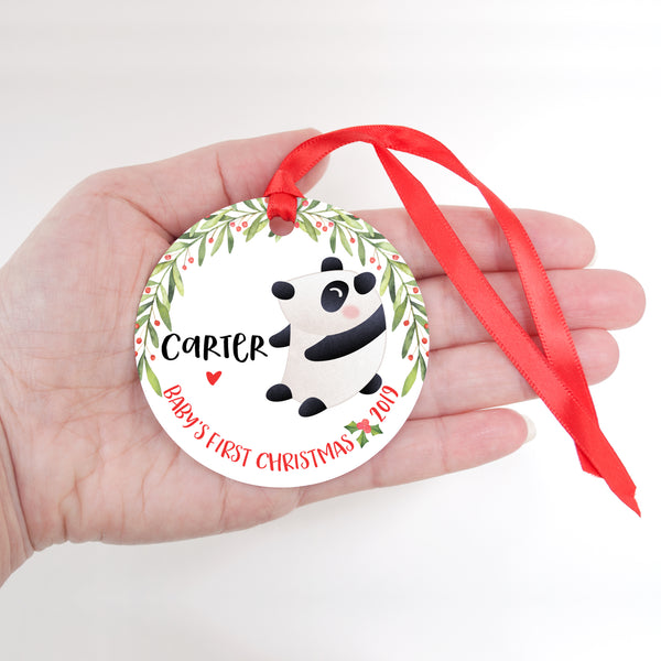 Panda Bear Personalized Baby's First Christmas Ornament for Baby Girl or Baby Boy - Baby's 1st Holidays Milestone Decoration Keepsake - Round Aluminum - by Happy Cat Prints