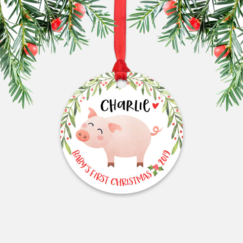 Pig Personalized Baby's First Christmas Ornament for Baby Boy or Baby Girl - Cute Farm Animal Baby 1st Holidays Decoration - Custom Christmas Gift Idea for New Parents - Round Aluminum - by Happy Cat Prints