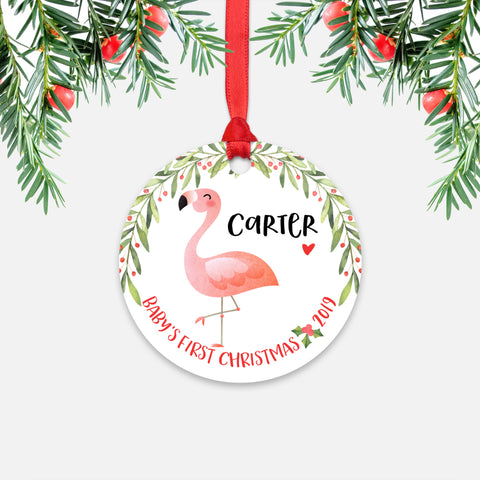 Pink Flamingo Bird Personalized Baby's First Christmas Ornament for Baby Boy or Baby Girl - Cute Tropical Animal Baby 1st Holidays Decoration - Custom Christmas Gift Idea for New Parents - Round Aluminum - by Happy Cat Prints