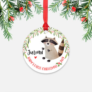Raccoon Personalized Baby's First Christmas Ornament for Baby Boy or Baby Girl - Cute Woodland Animal Baby 1st Holidays Decoration - Custom Christmas Gift Idea for New Parents - Round Aluminum - by Happy Cat Prints