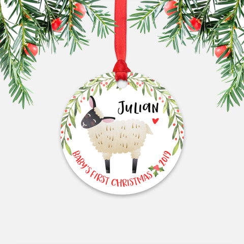 Sheep Lamb Personalized Baby's First Christmas Ornament for Baby Boy or Baby Girl - Cute Farm Animal Baby 1st Holidays Decoration - Custom Christmas Gift Idea for New Parents - Round Aluminum - by Happy Cat Prints