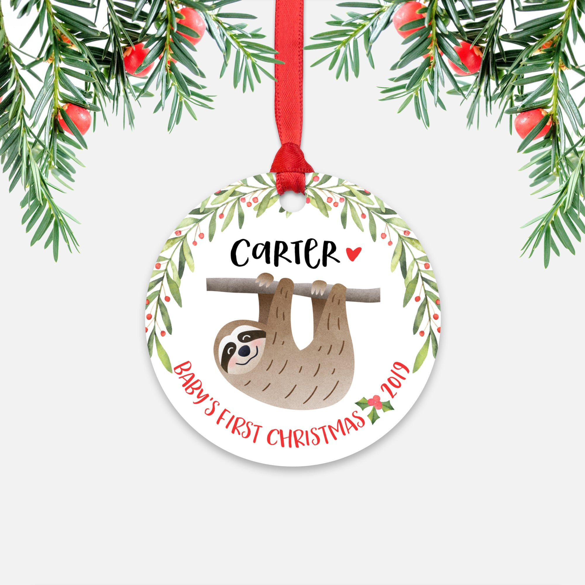 Sloth Personalized Baby's First Christmas Ornament for Baby Boy or Baby Girl - Cute Tropical Animal Baby 1st Holidays Decoration - Custom Christmas Gift Idea for New Parents - Round Aluminum - by Happy Cat Prints