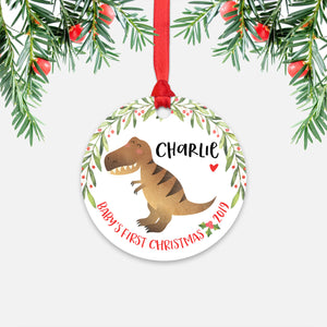 T-Rex Dinosaur Tyrannosaurus Rex Personalized Baby's First Christmas Ornament for Baby Boy or Baby Girl - Cute Animal Baby 1st Holidays Decoration - Custom Christmas Gift Idea for New Parents - Round Aluminum - by Happy Cat Prints