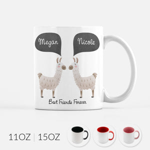 Personalized Llama Alpaca Best Friends Forever BFF Ceramic Coffee Mug Friendship Gift for Animal Lover - By Happy Cat Prints