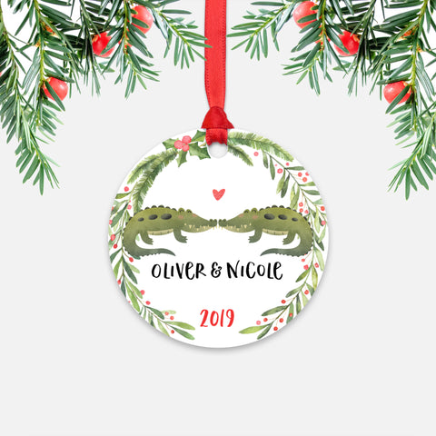 Alligator Crocodile Couple Personalized Christmas Ornament - Holidays Custom Gift for Animal Lover Wedding Engagement Newlyweds Wife Husband Boyfriend Girlfriend - Round Aluminum - Red Ribbon Hanging in Tree - by Happy Cat Prints