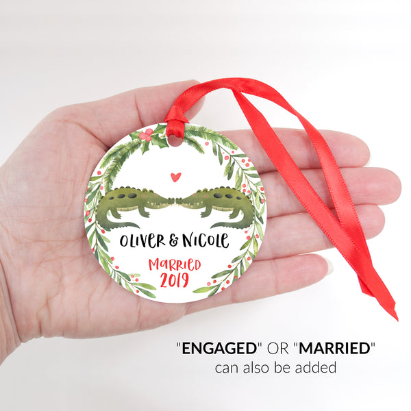 Alligator Crocodile Couple Personalized Christmas Ornament - Married or Engaged Customization - Round Aluminum - Size Shown in Hand - by Happy Cat Prints