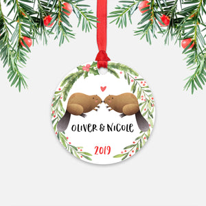 Beaver Couple Personalized Christmas Ornament - Holidays Custom Gift for Animal Lover Wedding Engagement Newlyweds Wife Husband Boyfriend Girlfriend - Round Aluminum - Red Ribbon Hanging in Tree - by Happy Cat Prints