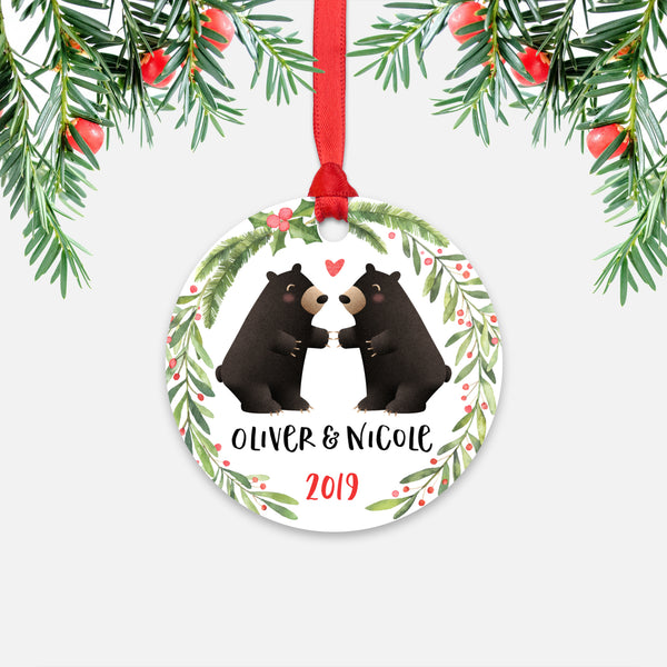 Black Bear Couple Personalized Christmas Ornament - Holidays Custom Gift for Animal Lover Wedding Engagement Newlyweds Wife Husband Boyfriend Girlfriend - Round Aluminum - Red Ribbon Hanging in Tree - by Happy Cat Prints