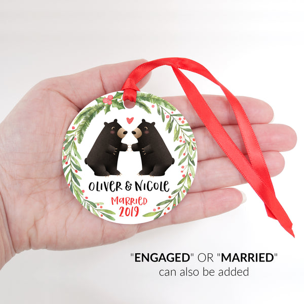 Black Bear Couple Personalized Christmas Ornament - Married or Engaged Customization - Round Aluminum - Size Shown in Hand - by Happy Cat Prints