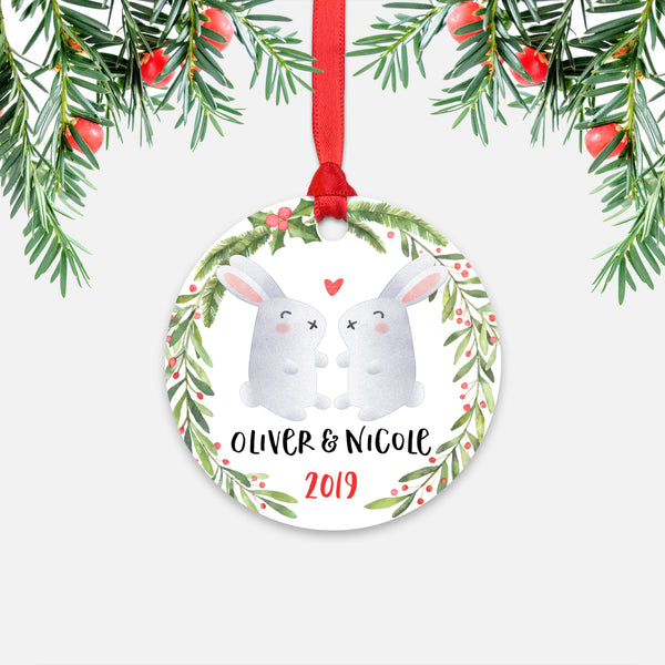 Bunny Rabbit Couple Personalized Christmas Ornament - Holidays Custom Gift for Animal Lover Wedding Engagement Newlyweds Wife Husband Boyfriend Girlfriend - Round Aluminum - Red Ribbon Hanging in Tree - by Happy Cat Prints
